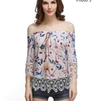 Fashion sexy off shoulder strapless print lace splicing top-1