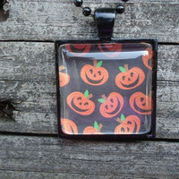 Pumpkins : A pendant charm necklace made from a glass tile and a square pendant tray