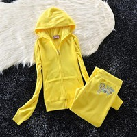 Juicy Couture Studded Colorful Flowers Velour Tracksuit 6012 2pcs Women Suits Yellow