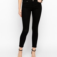 ASOS Lisbon Skinny Mid Rise Ankle Grazer Jeans in Washed Black