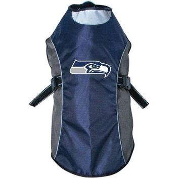 DCCKT9W Seattle Seahawks Water Resistant Reflective Pet Jacket
