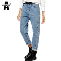 Achiewell Spring Casual Women Jeans High Waist Side Eyelet Blue Mom Jeans Bottoms