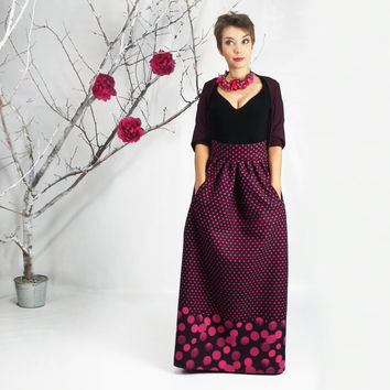 Maxi Skirt, Long Skirt, Floor Length skirt, Polka dots Full Skirt, Winter Maxi skirt, Wool skirt, Long skirt with pockets