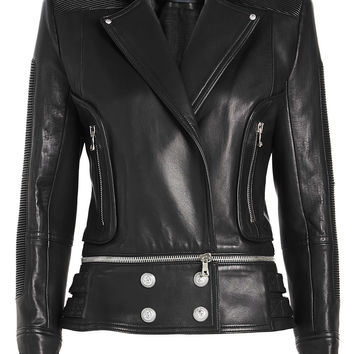 Leather Jacket with Embossed Buttons - Balmain | WOMEN | KR STYLEBOP.COM