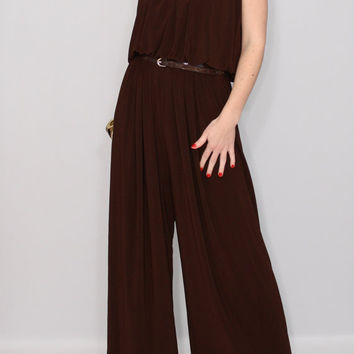 Women Brown jumpsuit Wide leg romper Halter jumpsuit