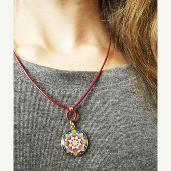 On Sale Mandala necklace - Mandala pendant - mandala Print - Mandala Jewelry - Leather necklace - Leather Jewelry - Burgundy Necklace - Yoga