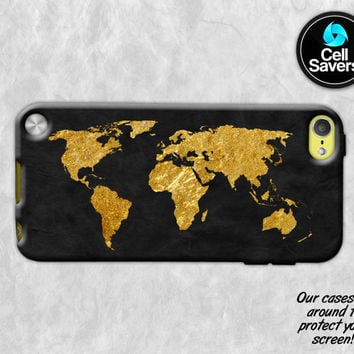 World Map Gold iPod 5 Case iPod 6 Case iPod 5th Generation iPod 6th Generation Case Gen Map Travel Gold Black World Tumblr Wanderlust Cute