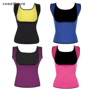Women Neoprene Shapewear Push Up Vest Weight Loss Waist Trainer Sauna Hot Body Shaper Waist Cincher Corset Slimming Sweat Vest