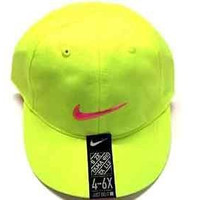 Toddler Just Do It Girl's Embroidered Swoosh Volt / Vivid Pink Cotton Baseball Cap 2/4T