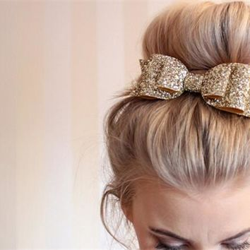 Glitter Hair Bow Clips | Cheer Bows | Glitter Bows