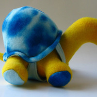 Sebastian the tiny tortoise, fleece, plush, yellow, blue, turtle