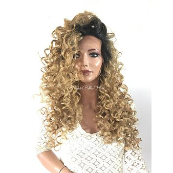 Ombre'  Dark Ash Blond Waves  Human Hair Blend Multi Parting Lace Front Wig - Stacy