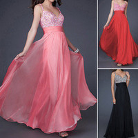 Maxi Formal Gown Bridesmaid Wedding Party Prom Ball Chiffon Evening Long Dresses