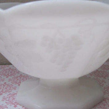 Opaque White Milk Glass Pedestal Vase-Bowl, Grape Pattern