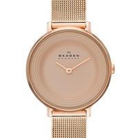 Women's Skagen 'Ditte' Round Mesh Strap Watch, 30mm