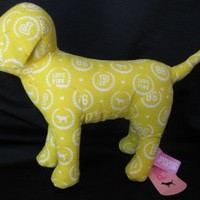 "Victoria's Secret Pink 7"" Plush Yellow Print Dog"