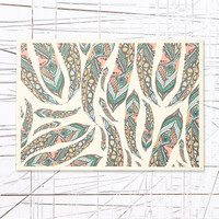 Feathers Wooden Wall Art in Green - Urban Outfitters