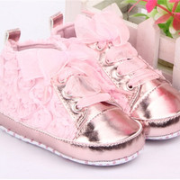 Rose Flower Skidproof Baby Crib Shoes Soft-soled Shoes Infant Prewalker #C619 = 1946930564