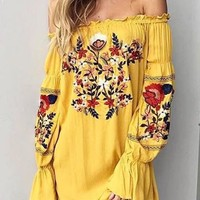 Yellow Floral Ruffle Embroidery Off Shoulder Homecoming Party Mexican Mini Dress