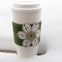 Hand crocheted coffee cosy cozy, winter white flower, sage center, trimmed in gray, leaf green sleeve, valentine gift for her