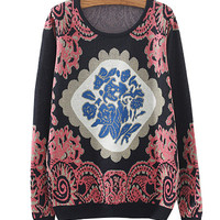 Black Porcelain Totem Print Knitted Sweater