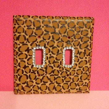 Hand-Painted Leopard Print 2 Sided Light Switch Plate with Rhinestones