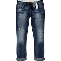 River Island MensMid wash ripped Chester tapered jeans