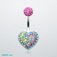 Vibrant Heart Swirl Tiffany Inspired Belly Button Ring