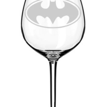 Etched Batman Symbol Wine Glass Set