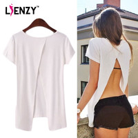 LIENZY 2016 Summer American Apparel Women Blank T Shirt Backless Short Sleeve O Neck Sexy White T Shirt For Women Clothing