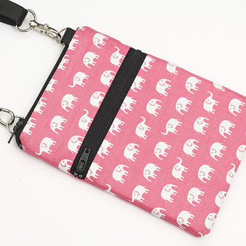Cute Travel Purse, Phone Sling Purse, Samsung S5 bag, Small Animal Cross Body Bag w/ straps - white elephants marching in light pink