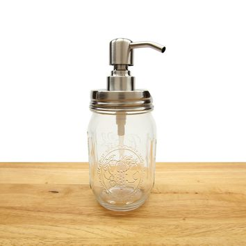 Mason Jar Soap Dispenser - Decorative Bathroom & Kitchen Sink Soap Pump - Durable & Rust Proof - By Flipped Style