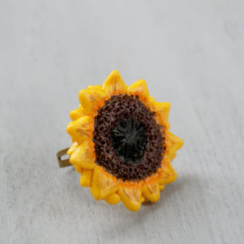 Sunflower Ring ,Nature Inspired Yellow Brown Adjustable Ring ,Handmade Polymer Clay