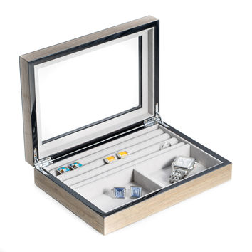 """""""Gray"""" Lacquered Wood Valet Box with Glass Top"""