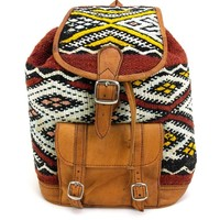 Kilim and Soft Tan Leather Backpack