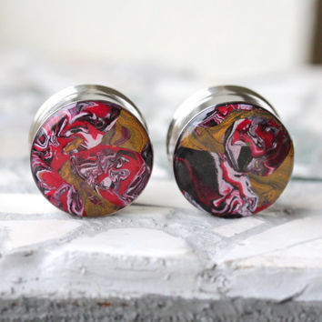 "7/8"" Ear Gauges, Red Plugs, Unique Gauges, Double Flare Plugs, Alternative - size 7/8"" (22mm)"
