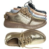 Forward03 Gold by Bamboo, Snakeskin Embossed Prints, Lace Up Sneaker w Ribbed Outsole