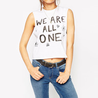 White We Are All One Muscle Sleeve Top