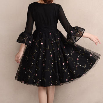 Black  Tulle dress  women dress fashion dress Long sleeve dress Lolita dress---WD154