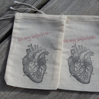 Set Of 10 Hand stamped Anatomical Heart Be My Valentine Party Favor Bags 100% organic made in america
