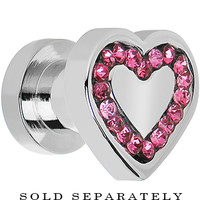 2 Gauge Surgical Steel Pink CZ Heart Screw Fit Plug | Body Candy Body Jewelry