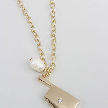 Gold Oklahoma State Necklace