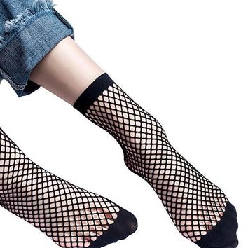 Breathable Pop Black Tight Sheer Durable Fishnet Socks