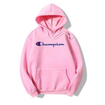 ONETOW The New Champion Print Pink Casual Loose Hoodies Pullover Sweater
