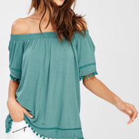 Pom Pom Hem Detail Off Shoulder Top