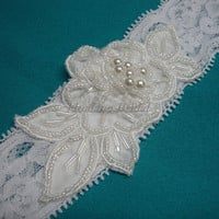 Garter, stretchy lace garter with rose lace applique