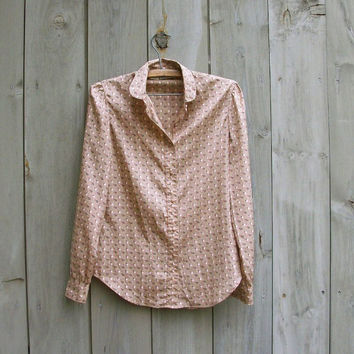 Vintage shirt - Tan floral print Villager blouse