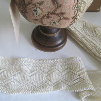 Antique Lace Yardage Hand Crochet Lace Yardage Antique Lace Trim by the Yard Notions White Wide Lace Yardage Embroidered Wide Lace Trim
