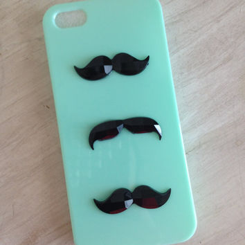 READY TO SHIP mint green iphone 5 case with 3 crystal cut mustaches / mustache iphone case / iphone 5