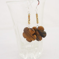 Tiger Eye and Hematite Earrings, Flower Shaped Earrings, Brown Earrings, Gemstone Earrings, Handmade Tiger Eye Earrings